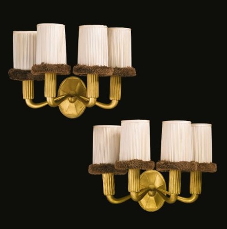 four-light sconces (model ar3035/nr3669) (pair) by émile jacques ruhlmann