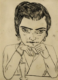 portrait of naila leaning on her arms, with glass by max beckmann