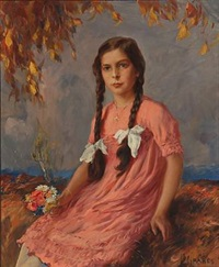 portrait of a girl in pink dress with flowers in her hand by max friedrich rabes