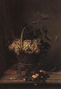 nature morte au panier de raisins et au jeté de girofles by jean baptiste (joannes) cornillon