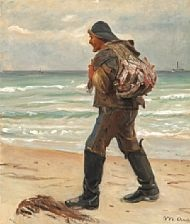 a fisherman on skagen beach carrying the catch of the day on his back by michael peter ancher