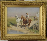 le guardian et le cheval camarguais by jules antoine voirin