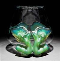 antinea frosted green and clear crystal vase by rené lalique
