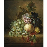 a still life with grapes, a peach, berries and flowers by adriana johanna haanen