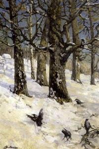 birds on the snow by christoffer johann drathmann