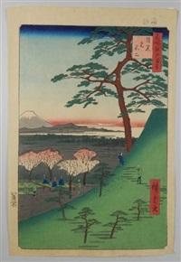 série des 100 vues célèbres d'edo. planche 25 - meguro fuji. vue du mont fuji à merguro by ando hiroshige