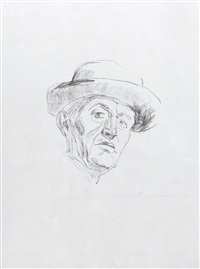 self-portrait with hat i by edvard munch