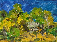 blue skies & green trees by william goodridge roberts