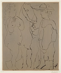 picador debout avec son cheval et une femme (picador standing with his horse and a woman) by pablo picasso