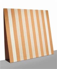 peinture acrylique blanche sur tissu rayé blanc et orange by daniel buren