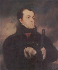 portrait of captain lyon, r.n., in a fur-trimmed coat, holding a gun by john jackson