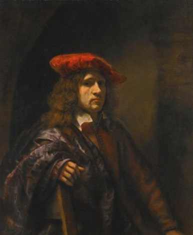 portrait of a young man half length wearing a red tunic and a broad brimmed red cap by rembrandt van rijn