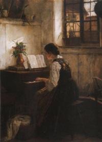 zongorázó leány (girl playing by the piano) by gustav igler