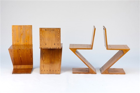 vier zigzag stühle set of 4 by gerrit thomas rietveld