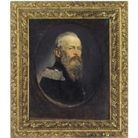 a portrait of the prince regent luitpold of bavaria, in the robes of the bavarian house order of st. hubert by rudolf wimmer