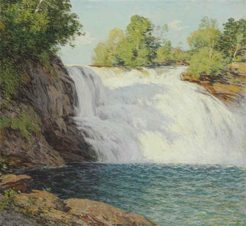 the waterfall by willard leroy metcalf