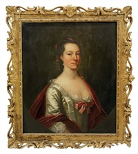 portrait of elizabeth, wife of samuel cook in a white silk dress with a lace trim by francis lindo
