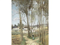 le village à travers les arbres by camille pissarro