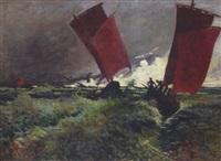 les voiliers rouges by emile jourdain
