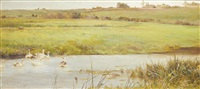 a tranquil country landscape, near overton by james aumonier