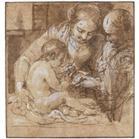 the holy family with the christ child reading by alessandro tiarini