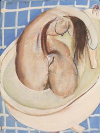 nude in bath by brett whiteley