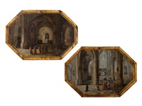 pair of church interieurs (pair) by peeter neeffs the elder