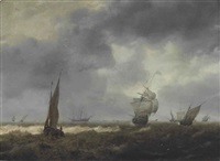 shipping in a choppy sea by hendrick van anthonissen