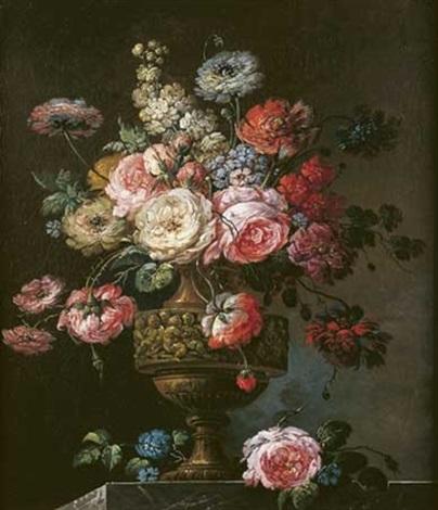 bouquet de fleurs sur un entablement de marbre by jean baptiste charles claudot
