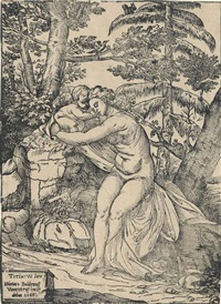 venus and cupid (after titian) by niccolo boldrini