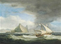 a maltese xebec in mediterranean waters, thought to be off gibraltar, with an english frigate heading inshore beyond by thomas luny