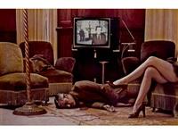 t.v. murder, cannes (unique version) by helmut newton