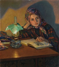reading girl by nikolai petrovich bogdanov-bel'sky
