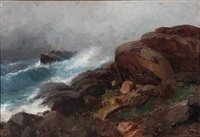 rocky coast with a freight ship in high waves by sigvald simensen