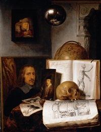 still life of books, prints, paintings, a skull, shell and a globe upon a table draped with a green cloth, a sphere and a painting hanging above by simon luttichuys