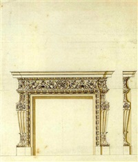 design for a chimney-piece for thomas coke, 1st earl of leicester for holkham hall, norfolk by william kent