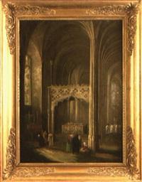 intérieur d'église gothique animé de personnages by henry milbourne