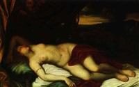 schlafende venus in einer landschaft, von zwei satyrn    beobachtet by federico cervelli