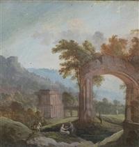 paysage composé dans des ruines antiques by pierre antoine patel