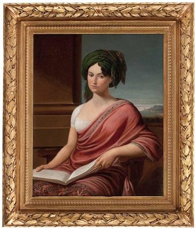 portrait einer dame mit buch lady hamilton vor pfeiler und landschaftsausschnitt by andrea appiani