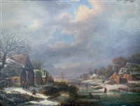 paysage du nord aux patineurs by maximilien lambert gelissen