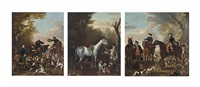 viscount weymouth's hunt: the death of the fox; coming at the death (+ returning from the chase; 2 works) by john wootton