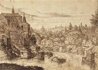 paysage fluvial, une église sur les hauteurs by paul bril