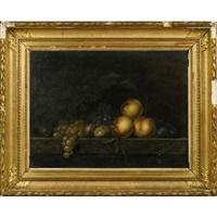 nature morte aux pêches, prunes, raisins et figues sur un entablement de marbre by paul liegeois
