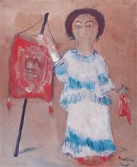 mujer con estandarte by héctor basaldúa