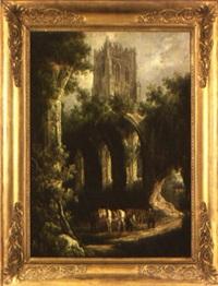 paysage aux ruines gothiques animé de personnages by henry milbourne