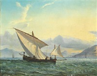 seascape with a fishing boat in the foreground and numerous ships under sail and at anchor off a mountainous coastline by fritz siegfried george melbye
