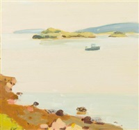 peak island and lobster boat by fairfield porter