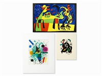 3 lithographs in colors by joan miró