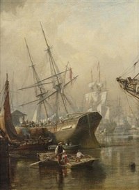 mid-quay, greenock harbour by samuel bough
